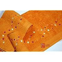 Juego de Toallas Bordadas Estrellas 2 piezas 550gr STARS 2P. Nº15 (Naranja)