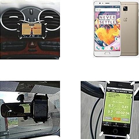 """Support voiture et support pour OnePlus 3T, noir """"Spider"""". Air vent mount vue arrière du support miroir, porte-vélos, etc. Trépied - K-S-Trade"""