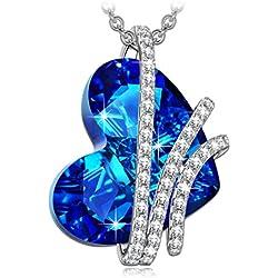 Collar con colgante de Corazón del Océano de Plata con Cristales Swarovski