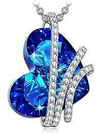 Alex Perry Corazón del Océano Plata de Ley 925 [Bermuda Azul] Fabricados con Cristales Swarovski, Colgante Collar Mujer, Libre de Alérgenos, Cadena de Extensión de 45+6cm
