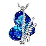 Alex Perry Damen Kette 925 Sterling Silber Herz Halskette mit Anhänger mit Swarovski Kristall Blau Weihnachtsgeschenke Schmuck Geschenke zum Geburtstag Jubiläum Mutter Tochter Mädchen FrauenSie