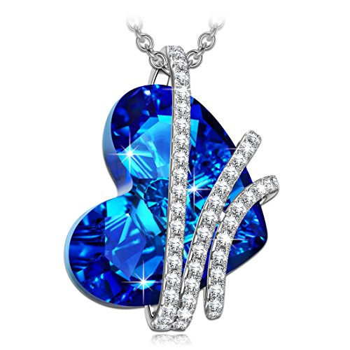 Alex Perry Corazón del Océano Plata 925 [Bermuda Azul] con Cristales Swarovski, Colgante Collar Mujer joyería regalos para Navidad Cumpleaños Aniversario Boda novia esposa madre hija damas niñas su
