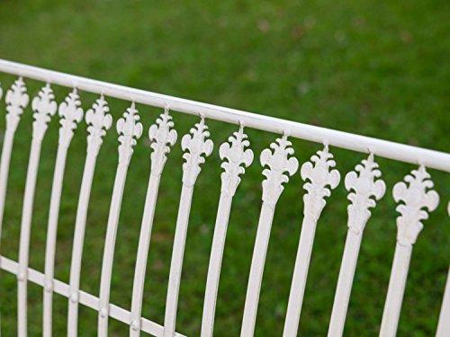 Nostalgie Gartenbank Lilie fleur de lis Eisen Antik-Stil creme weiss iron garden - 6