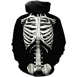 Unisex Hoodies 3D Esqueleto Imprimir Pullover Regalos de Navidad ligero Sudaderas con Bolsillos (Esqueleto Impreso 1, EU M(Tag XL))