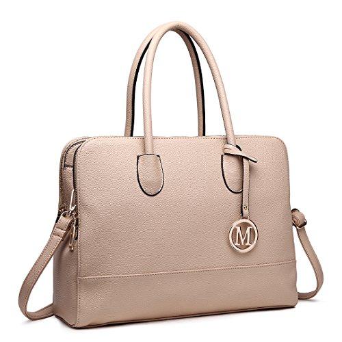 Miss LuLu Aktentasche Handtasche Laptoptasche Arbeitstasche Schultertasche Messenger Bag Retro Elegant Damen (LT1726-Beige) (Damen Handtasche Beige)