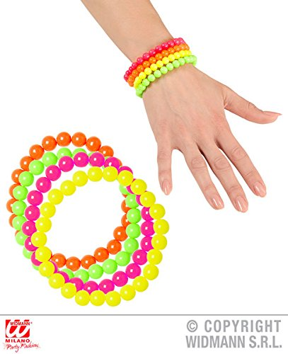 Neon Beaded Bracelets - Set of 4