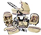 Chilly Kids Dino 3 in 1 Kinderwagen Set (Autosit & Adapter, Regenschutz, Moskitonetz, Schwenkräder) 38 Beige & Karo