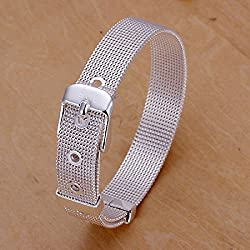 Unique Fashion 925 Silver Plated Jewelry Hand Chain Bracelet 10Mm Width Net Watch Strap