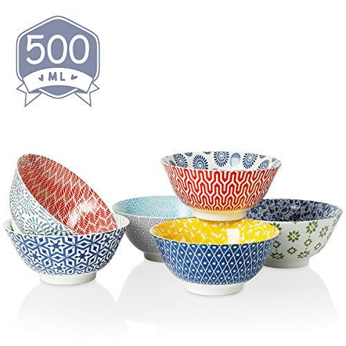 Amazingware Müslischalen 6er Set aus Porzellan, Füllmenge 500 ml, Müslischüssel, Müsli Schale, Dessertschale, Snackschale, Schüssel