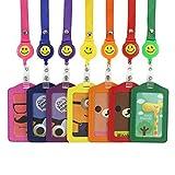 L-Run 7 Stück Ertical-Stil, verschiedene Farben, Kunstleder, Fächer für Kreditkarte Badge Holder Clear-Tasche mit Smiley-Gesicht, 7-teilig, mit Nylon-String Yoyos