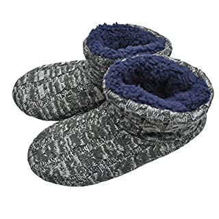 MStar Herren Hochwertige Gefütterte Hausschuhe Warme Rutschfest Winter Hüttenschuhe für Outdoor/Indoor (46 EU, Dunkelgrau)