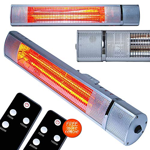 MYLEK Electric Patio Heater 2KW Wall Mounted for Outdoor, Garden, Bathroom, 2 x Remote Controls, Batteries Fitted, 2000W Instant Heat Infrared Golden Tube Technology – Waterproof IP65