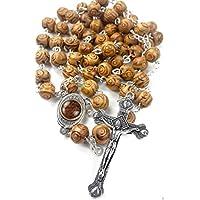 Madera de olivo tallada cuentas oración Rosario católico collar suelo Santo medalla y cruz de metal