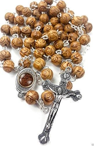 Intagliato in legno di ulivo Beads Catholic Prayer Rosary Necklace