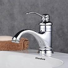 Hiendure® Ottone ponte montato rubinetti lavandino del bagno monocomando Cromo