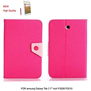 """HOTSALEUK Samsung Galaxy Tab 3 7.0 7-inch Book Cover Case Leather Stand, Bonus: Screen Protector + Stylus Pen (for Galaxy Tab 3 7"""" INCH P3200/ P3210, WiFi or 3G+WiFi), byhotsaleukStore®, Seller of Best Selling Galaxy Tab 2 7-inch Case (ROSE PINK)"""