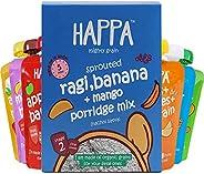 Happa Organic Fruit Puree and Porridge Combo,6 Puree 100 Grams Each, 1 Porridge 200 Gram