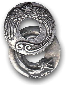 Amulett Talisman Anhänger / Feng Shui Drache und Phoenix 2,9 cm ( Durchmesser ) - Glück und langes Leben