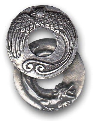 Amuleto talismano ciondolo/Feng Shui drago e fenice 2,9cm (diametro)-Fortuna e lunga vita