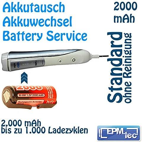 2000 mAh NiMH Akkuwechsel für OralB TriZone und neue Triumph 5000 - Batterie Battery Akku Replacement Service Oral-B Akkutausch auch für 5500, 6500, 6000, 7000, 8000, 8300, 8500, 8900, 9400 und Modellnummern 3711, 3719, 3728, 3731, 3738, 3739, 3745, 3761, 3762, 4713, 4716, 4727, 4728, 4729 und