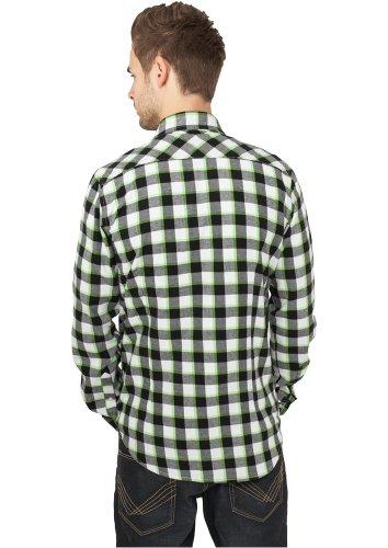 Urban Classics Herren Freizeithemd Tricolor Checked Light Flanell Shirt black/white/limegreen
