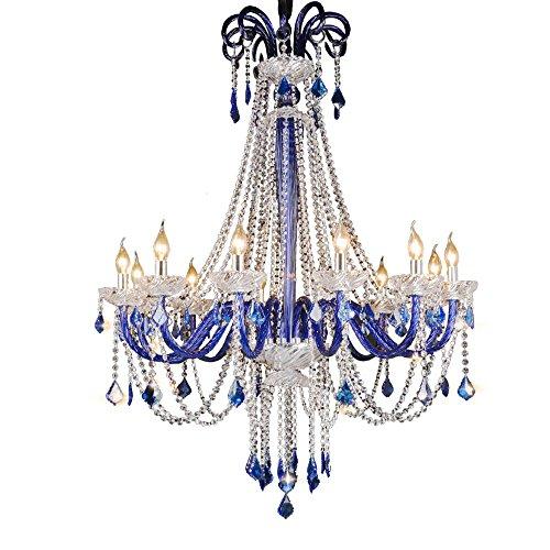 Europäische Kaffee Kronleuchter - Blaue Farbe Kristall Lampen Bekleidungsgeschäft Kristall Lampe Villa Treppe Große Kronleuchter Größe -85 * 115 cm (Kronleuchter Blau)