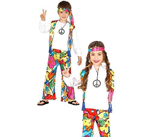 Kostüm Girl Hippie - Generique Hippie-Kostüm mit Großen Blumen für Kinder 140/146 (10-12 Jahre)