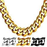 U7 12mm Herren Halskette 18k vergoldet Edelstahl Panzerkette Gliederkette für Männer Gold Ton HipHop Biker Rocker Kette (Länge 76cm)