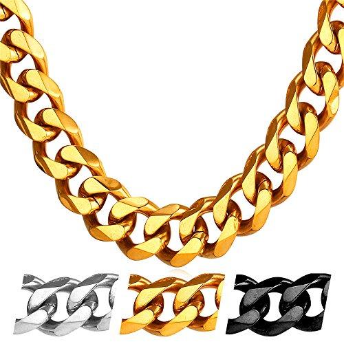 U7 12mm Herren Halskette 18k vergoldet Edelstahl Panzerkette Gliederkette für Männer Gold Ton Hiphop Biker Rocker Kette (Länge 46cm) (Stil Schmuck)