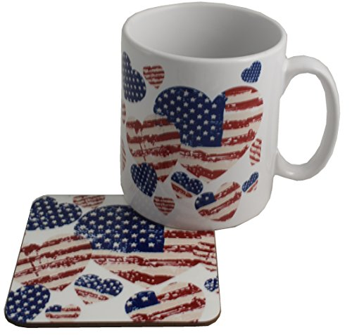 (Drapeau américain de cadeau mug et dessous de verre en céramique)