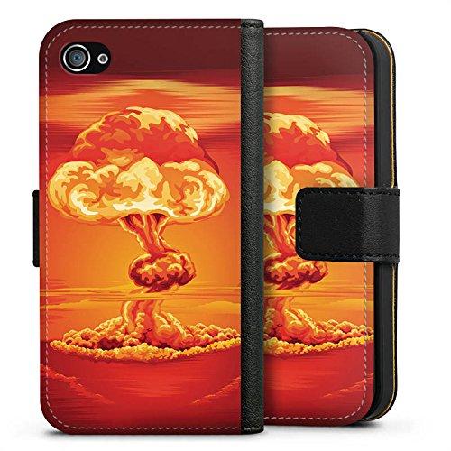 Apple iPhone X Silikon Hülle Case Schutzhülle Explosion Krieg Atompilz Sideflip Tasche schwarz