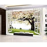 ZHENSI 3D Wandtattoo 3D Wallpaper 3D Kirschbaum Fenster HintergrundWandtapete Fototapete Tapeten, 130 (H) × 200 (W) cm