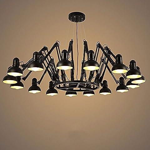 Generico TJDlight Lusso semplice lampadario Spider 16 Testina di stampa nero