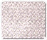 Tappetino per coniglietto pasquale, nastri adorabili coniglietti per bambini adorabili Chevron sfondo tono pastello, tappetino in gomma antiscivolo rettangolo di dimensioni standard, rosa avorio rosa