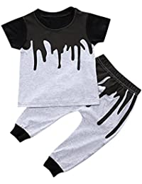 CHIC-CHIC Bébés Garçons Ensemble T-shirt /Haut + Pantalons Hiphop Carreau Baptême Chemise Tee Courts Mignon Swag