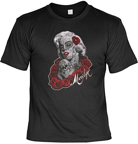 Marilyn Monroe Tattoo Face Rote Rosen Tag der Toten T-Shirt Marylin de Los Muertos Gr. S : (Toten Marilyn Monroe Kostüm)