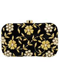 Tooba Handicraft Party Wear Hand Embroidered Box Clutch with Flower & leaf Work by Zardosi and Stone on Elegant Velvet Imported Texture Specially Designed for Women & Girls in Parties/Wedding/festivals/Casual and special evenings