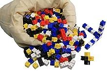 WISSNER® aktiv lernen - Ensemble de 1000 dés de pesée encastrables en 5 couleurs en sachet coton - RE-Plastic®