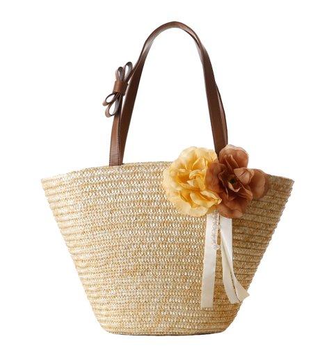 Tonwhar Paille tressée fleurs de plage en Paille Sac à bandoulière sac à main fourre-tout