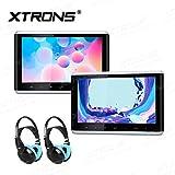 "XTRONS 10,2"" Auto HD Touchscreen DVD Player für Auto Kopfstützen 1280*720 Headrest mit HDMI Port USB/SD Slot DVD Player tragbar IPS Bildschirm mit verstellbar Blickswinkel Auto Pad (HD1003x2+DWH003x2)"