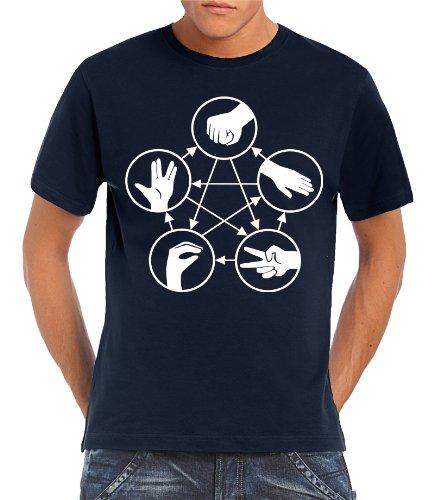 Touchlines Herren T-Shirt Big Bang Theory - Stein Schere Papier Echse Spock, navy, L, B1815-Navy-L