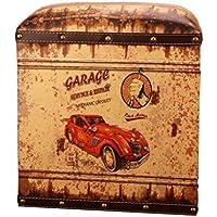 Preisvergleich für Folding Storage Seat Bench- Europäische Antike Leder Storage Hocker Kreative Vintage PU Aufbewahrungsbox mit Deckel Home Decor (Farbe : E)
