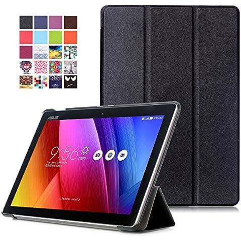 Funda ZenPad 10 Z300M / Z300C - Funda Ultra Delgado y Ligero con Cubierta de Soporte y Función de Despertador / Reposo Automático para ASUS ZenPad 10 Z300M / Z300C 10,1 Pulgadas Tablet, Negro