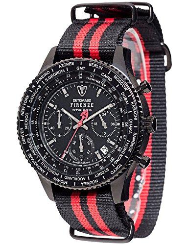 DETOMASO Firenze Stripes Men's Quartz Watch with Black Dial Chronograph Display and Multicolour Nylon Bracelet Dt1070-C