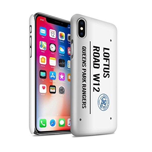 Offiziell Queens Park Rangers FC Hülle / Glanz Snap-On Case für Apple iPhone X/10 / Schwarz/Blau Muster / QPR Loftus Road Zeichen Kollektion Weiß/Schwarz