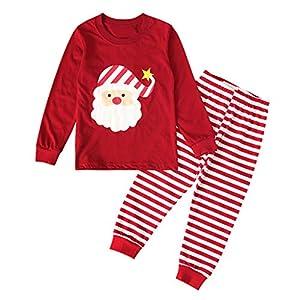 Greenwind Conjunto de Ropa de Mono de Mameluco de Santa de Navidad para niñas, bebés, niños, Tops, Pantalones a Rayas 7