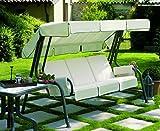 Hollywoodschaukel, Gartenschaukel mit imbottiturarivestita aus Stoff weiß, Hollywoodschaukel 4-Sitzer, Schaukel