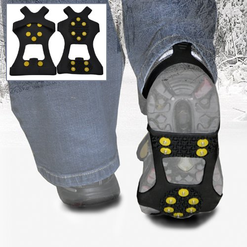 WinterWise® 10-STUD Ice Traction Universal Slip-on Stretch fit Snow & Ice Spikes (Grips, Crampons, Cleats)