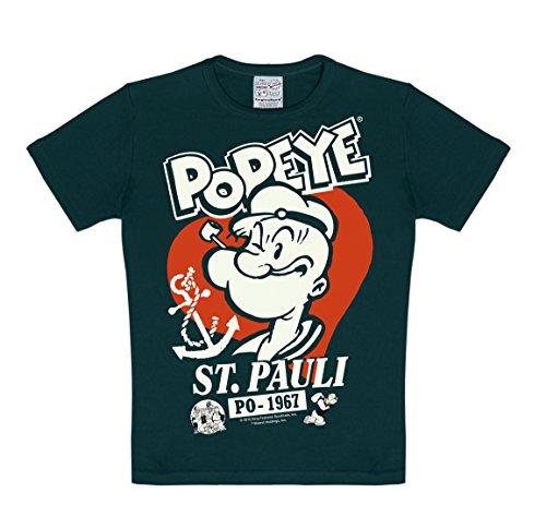 Popeye der Seemann - St. Pauli - T-Shirt Kinder Jungen - schwarz - Lizenziertes Originalsdesign - LOGOSHIRT, Größe 140/152, 10-12 (Charaktere Popeye Kostüme)