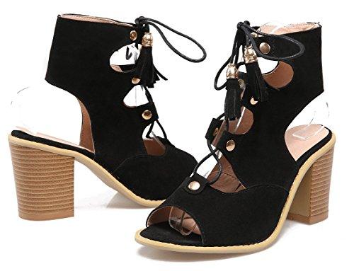YE Frauen Peep Toe 8cm Heels Blockabsatz Nubukleder High Heel Schnürung Sommer Sandalen Schuhe Ankle Boots Schwarz